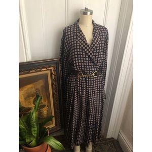 1950s-Vintage-Silk-Geometric Patterned-Dress